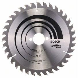 Saeketas puidule Bosch OPTILINE WOOD; 190x2,6x30,0 mm; Z36; 15°