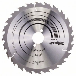 Saeketas puidule Bosch SPEEDLINE WOOD; 190x2,6x30,0 mm; Z24; 15°
