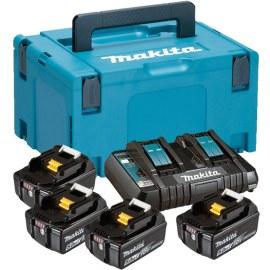 Tarvikute komplekt Makita Powerpack; 18V; 4x5,0 Ah + DC18RD mõeldud 18 V tööriistadele