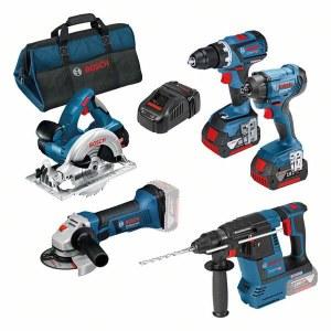 Tööriistakomplekt Bosch (GSR 18V-60 C + GDR 18V-160 + GBH 18V-26 + GWS 18-125 V-LI + GKS 18 V-LI); 18 V; 3x5,0 Ah aku