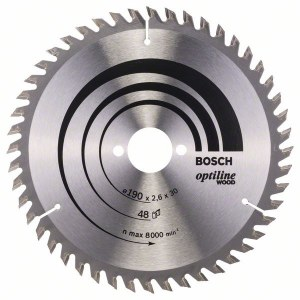 Saeketas puidule Bosch OPTILINE WOOD; 190x2,6x30,0 mm; Z48; 15°
