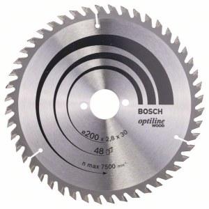 Saeketas puidule Bosch OPTILINE WOOD; 200x2,8x30,0 mm; Z48; 15°
