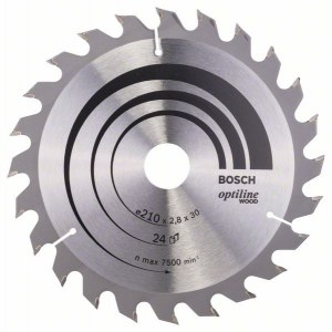 Saeketas puidule Bosch OPTILINE WOOD; 210x2,8x30,0 mm; Z24; 15°