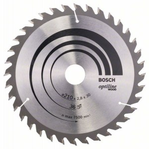 Saeketas puidule Bosch OPTILINE WOOD; 210x2,8x30,0 mm; Z36; 15°