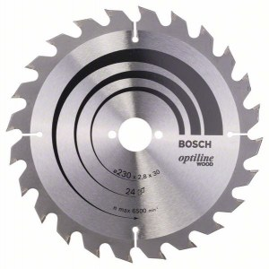 Saeketas puidule Bosch OPTILINE WOOD; 230x2,8x30,0 mm; Z24; 15°
