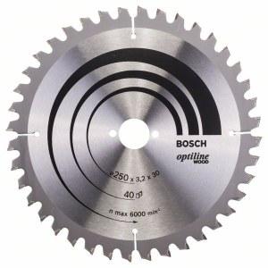 Saeketas puidule Bosch OPTILINE WOOD; 250x3,2x30,0 mm; Z40; -5°