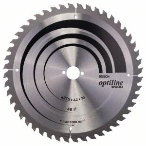 Saeketas puidule Bosch OPTILINE WOOD; 315x3,2x30,0 mm; Z48; 10°