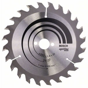 Saeketas puidule Bosch OPTILINE WOOD; 160x1,8x20,0 mm; Z24; 15°