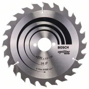 Saeketas puidule Bosch OPTILINE WOOD; 190x2x30,0 mm; Z24; 15°