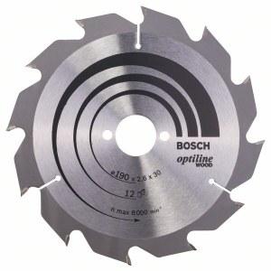 Saeketas puidule Bosch OPTILINE WOOD; 190x2,6x30,0 mm; Z12; 15°