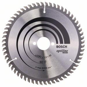 Saeketas puidule Bosch OPTILINE WOOD; 190x2,6x30,0 mm; Z60; 15°
