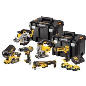 Tööriistakomplekt DeWalt (DCD796 + DCS3555 + DCP580 + DWV9390 + DCS391 + DCS331 + DCL050) 18 V; 3x5,0 Ah aku
